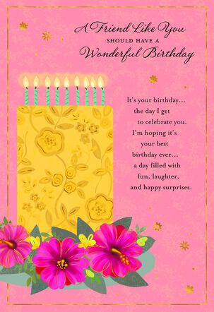 Yellow Floral Cake Birthday Card for Friend