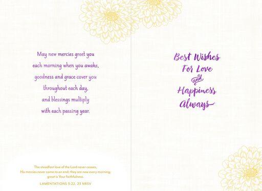 Dahlia Flowers Religious Wedding Card