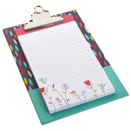 Folk Floral Clipboard With Memo Pad, , large