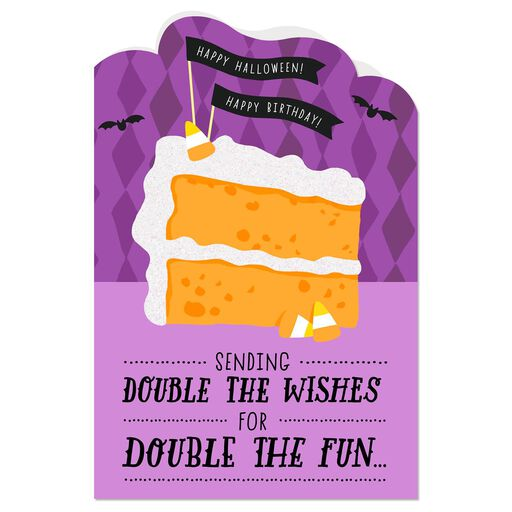 Double Wishes Halloween Birthday Card