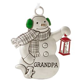 Grandpa Snowman With Lantern Metal Ornament, , large