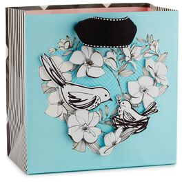 """Birds and Flowers Medium Square Gift Bag, 7.75"""", , large"""