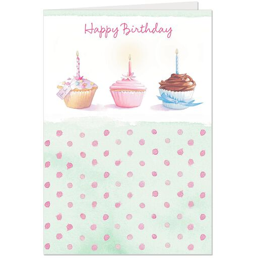 Three Cupcakes Birthday Card