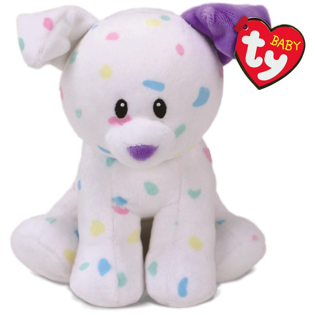 Ty Baby Ty Sprinkles Speckled Dog Stuffed Animal 6 Classic