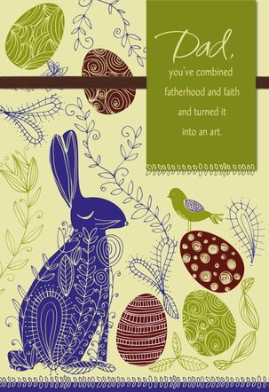 Bunny Fatherhood and Faith Easter Card for Dad