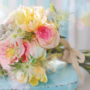 Pink Roses and Yellow Tulips Blank Just Because Card