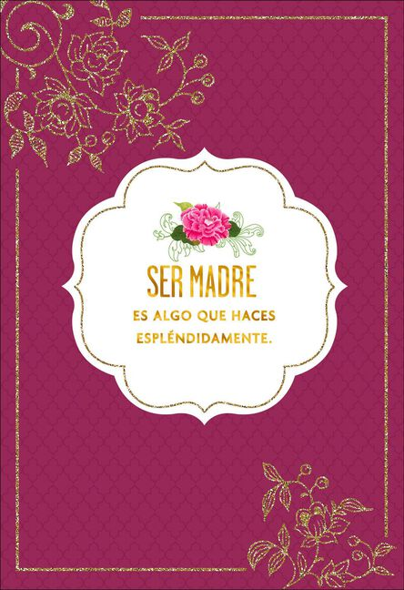 Floral Sparkles Spanish Language Birthday Card For Mom