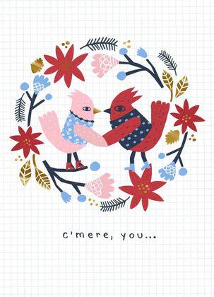 Frisky Cardinals Christmas Card