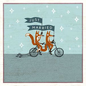 Just Married Foxes Wedding Card