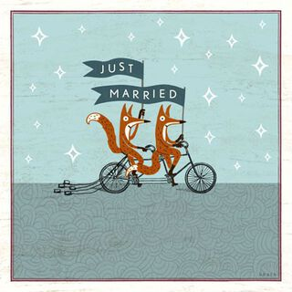 Just Married Foxes Wedding Card,