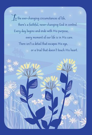 Bright Flowers on Blue Religious Encouragement Card