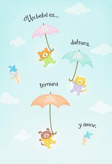 Teddy Bear Umbrellas Spanish-Language New Baby Card,