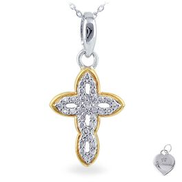 Diamond Accent Cross Necklace in Sterling Silver & Yellow Gold-Plate, , large