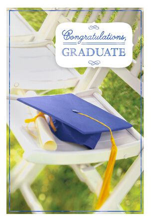 Mortarboard and Diploma Graduation Cards, Pack of 10