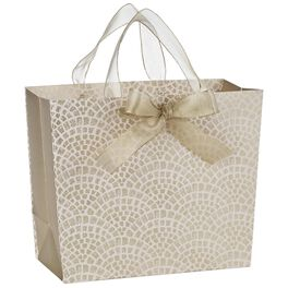 "Gold and Pink Scallops Medium Gift Bag, 9.5"", , large"