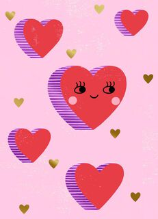 Happy Heart Valentine's Day Card,
