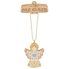 Natural Life Glitter and Gold Car Charm Angel, , large