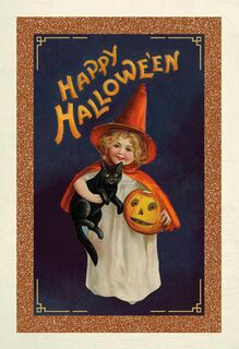 Victorian Girl With Black Cat Halloween Card,