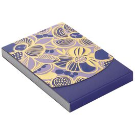 Purple and Gold Flowers Notepad, 75 Sheets, , large