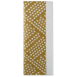 Solid White and Gold Polka-Dot Pattern 2-Pack Tissue Paper, 6 Sheets, , large