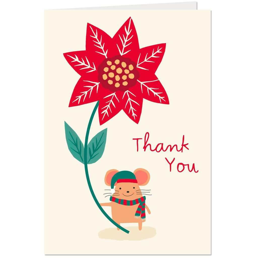 Mouse and Poinsettia Christmas Thank You Cards, Pack of 6 - Boxed ...