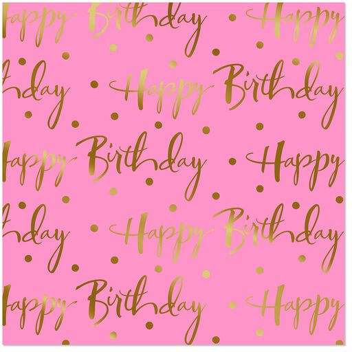 Pink Foil Happy Birthday Wrapping Paper Roll 15 Sq Ft