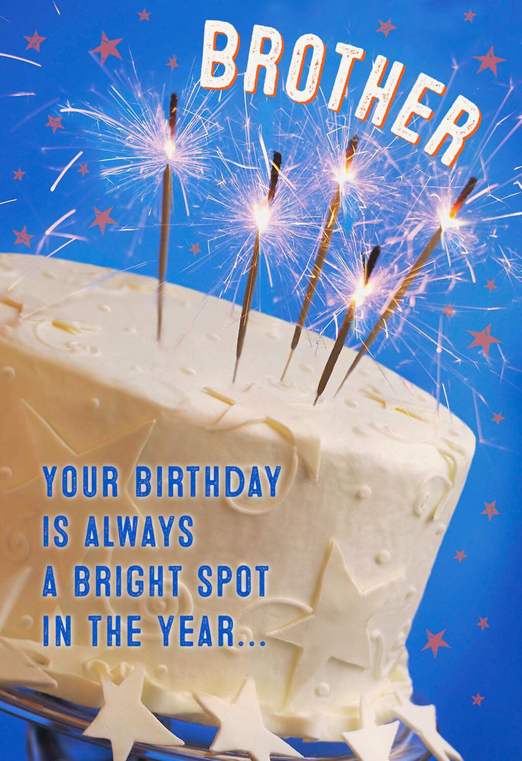 Birthday Cake With Sparklers Card For Brother