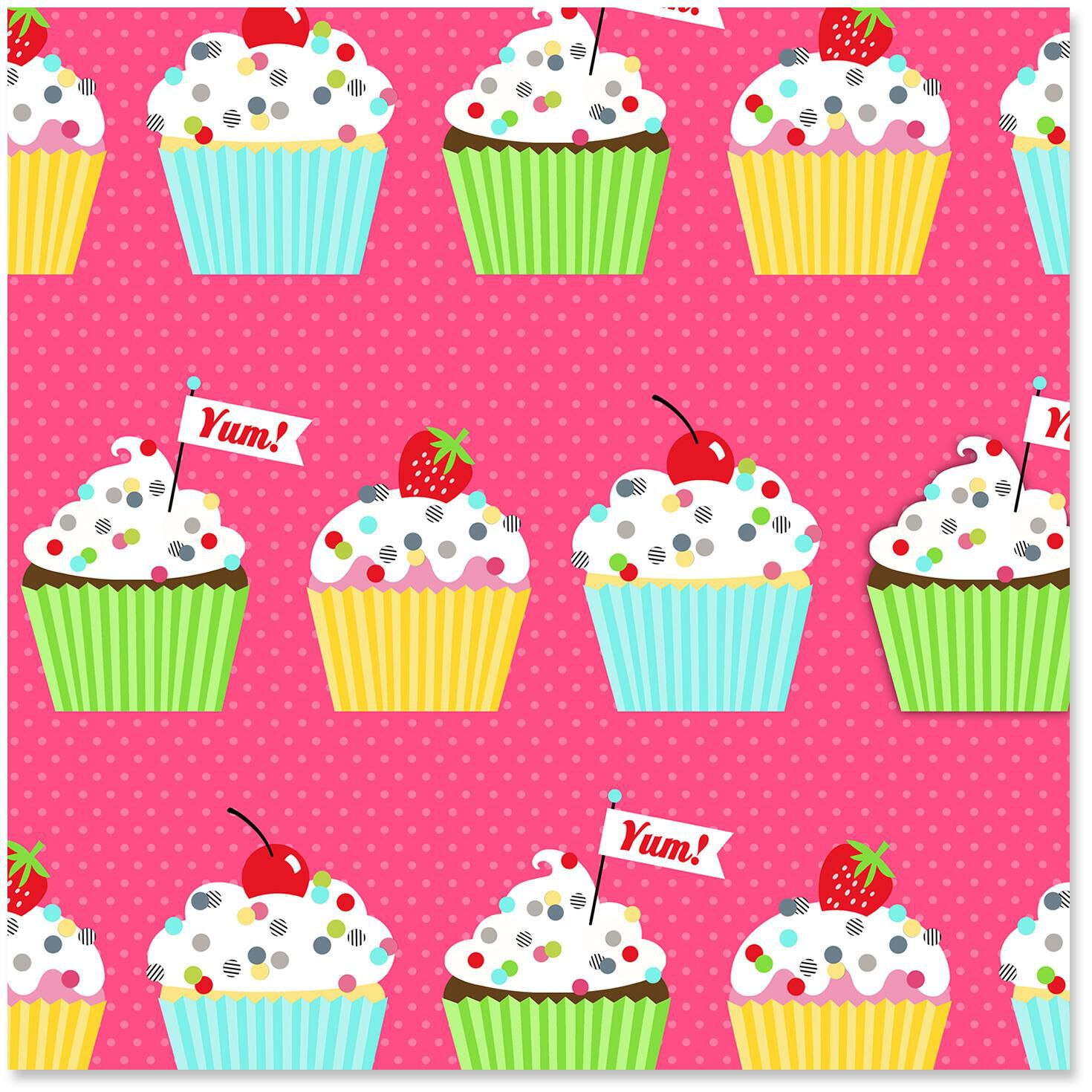 Colorful Cupcakes Wrapping Paper Roll 27 Sq Ft Wrapping Paper