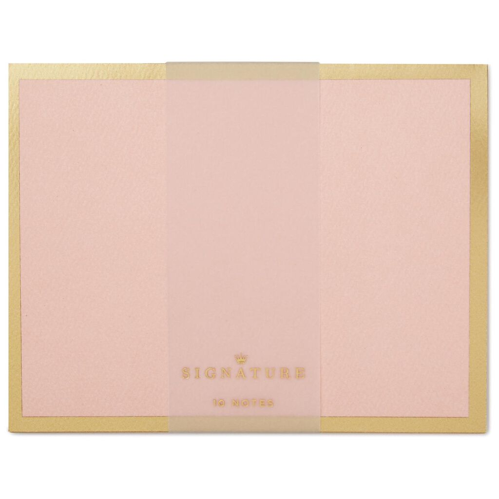 Light Pink With Gold Border Blank Note Cards Pack Of 10