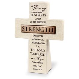 Strength Stone Cross - Joshua 1:9, , large