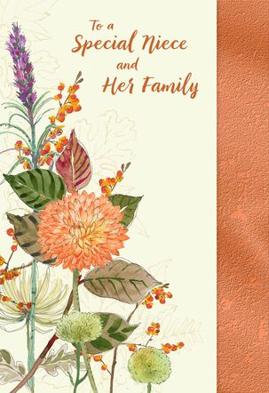 Flower Bouquet Thanksgiving Card for Niece and Family