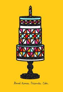 Bright Geometric Shapes on Cake,
