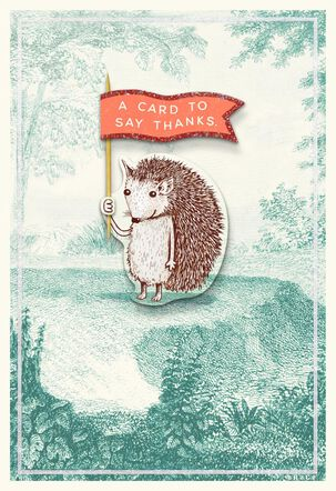 Cute Hedgehog With Red Flag Thank You Card