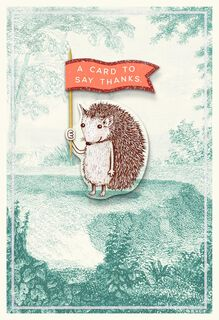 Cute Hedgehog With Red Flag Thank You Card,
