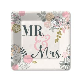 Mr. & Mrs. Dessert Plates, Pack of 6, , large