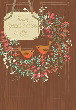 Birds and Wreath Pastor and Wife Appreciation Card