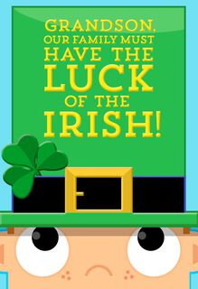 Luck of the Irish St. Patrick's Day Card for Grandson,