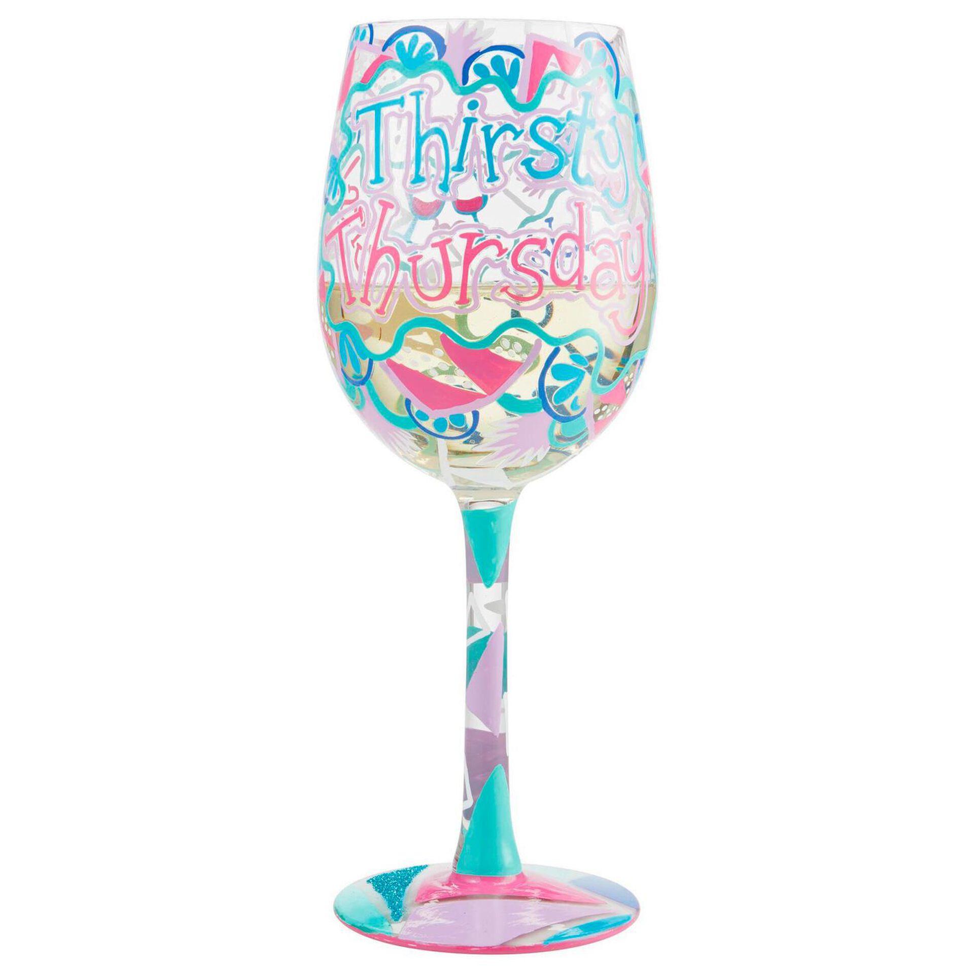 Lolita Thirsty Thursday Handpainted Wine Glass, 15 oz. - Wine Glasses -  Hallmark