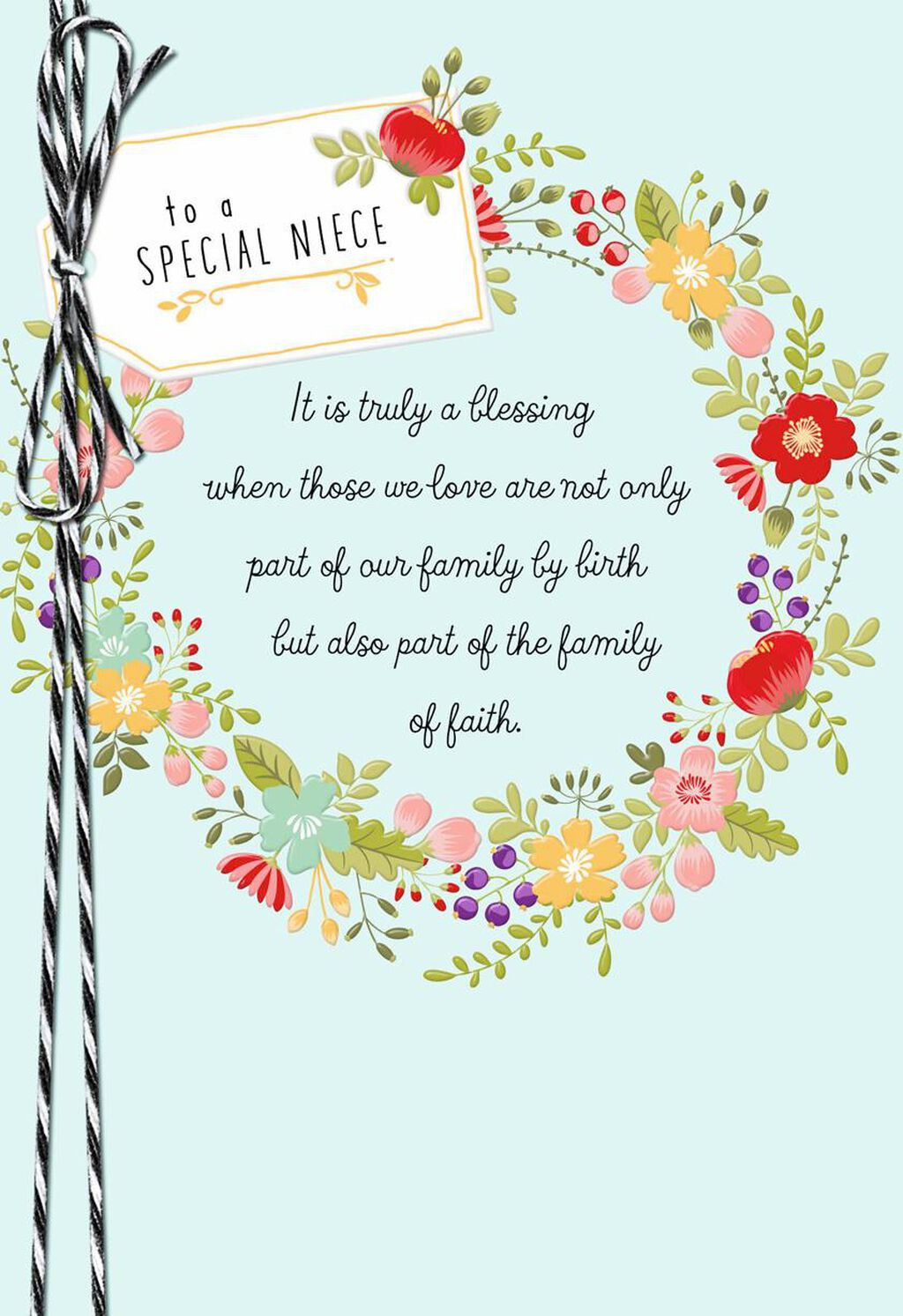 Floral Wreath Religious Confirmation Card For Niece Greeting Cards