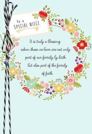 Floral Wreath Religious Confirmation Card for Niece