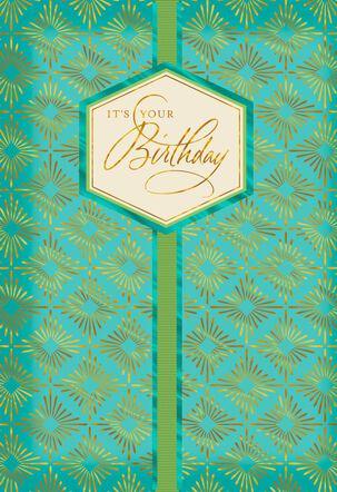 Gold Foil Diamond Pattern Birthday Card