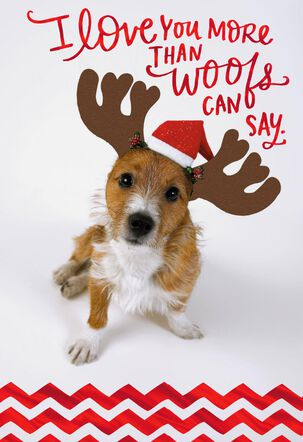 Dog With Antlers Christmas Love Card