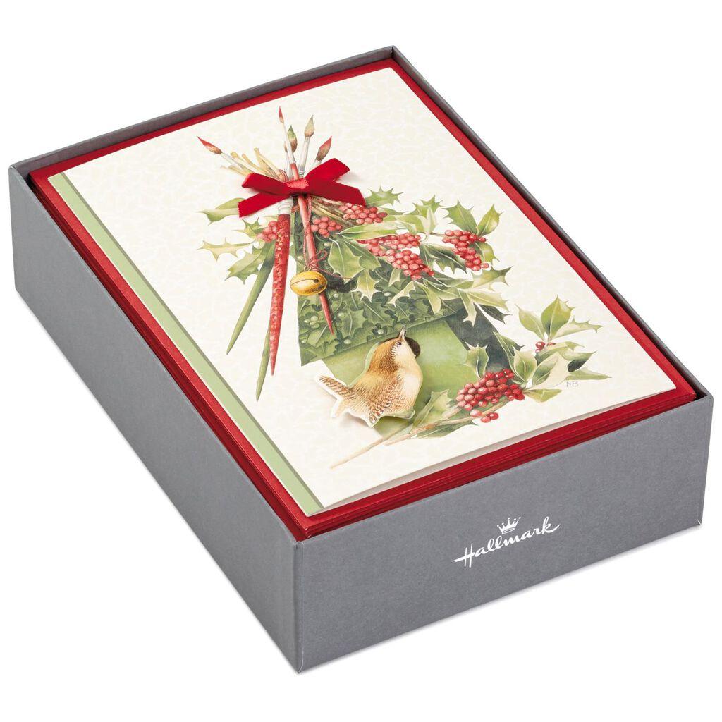 Marjolein Bastin Winter Birdhouse Christmas Cards, Box of 12 - Boxed ...