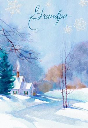 Illustrated Landscape Grandpa Christmas Card