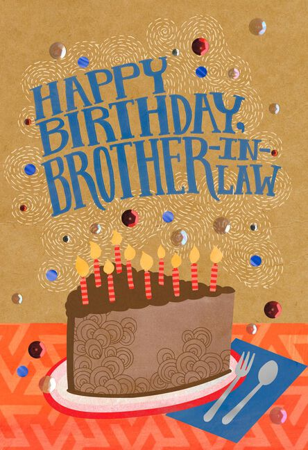 Cake And Candles Birthday Card For Brother In Law Greeting Cards