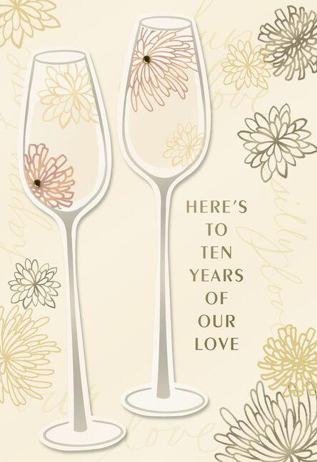 Champagne glasses 10th anniversary card greeting cards hallmark champagne glasses 10th anniversary card m4hsunfo