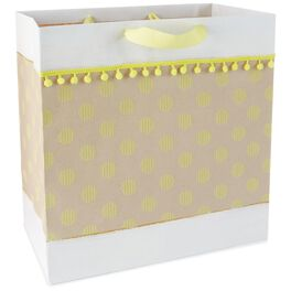 "Yellow Dots X-Deep Gift Bag With Pom Pom Fringe, 15"", , large"
