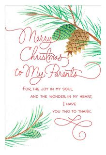 Joy in My Soul Christmas Card for Parents,