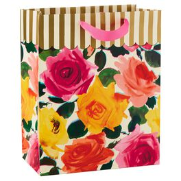 "Roses and Gold Stripes Large Gift Bag, 13"", , large"
