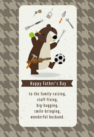 Juggling Bear Father's Day Card for Husband